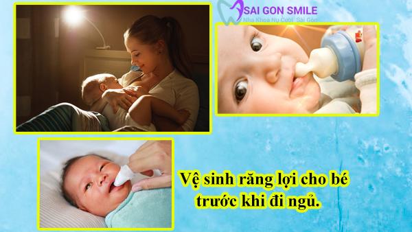 vệ sinh răng lợi cho bé trước khi đi ngủ